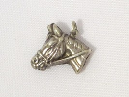 Big Horse Pony Vintage Sterling Silver Pendant Fob Bracelet Charm, Puffy - $18.00