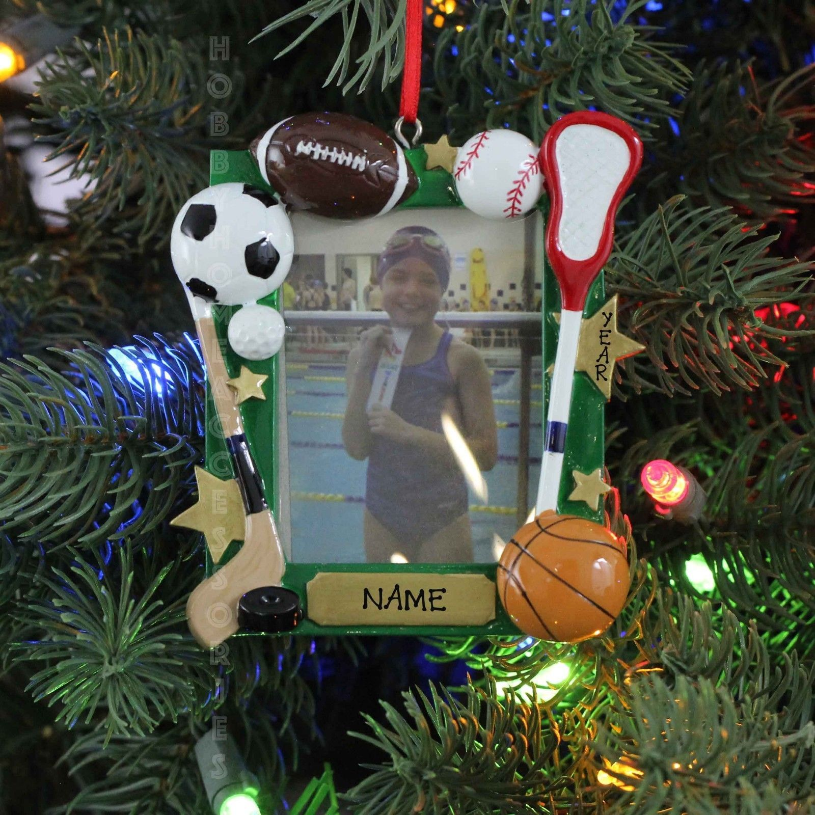 Christmas Tree Ornaments Picture Frames : Sports basketball baseball picture frame personalized