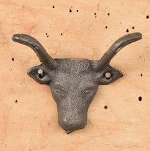 Set of 12 Cast Iron Cow Head with Hook Drawer Pull, Cabinet Knobs - $19.79