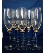 Set of 8 Elegant Crystal Champagne Flutes~Platinum- SilverAccented - $15.99
