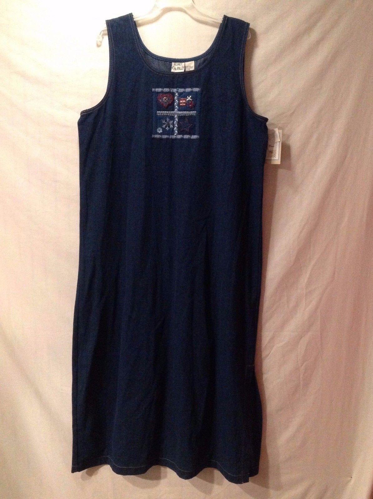 Koret City Blues Dark Denim Full Length Dress Sleeveless Pullover Size XL NWT