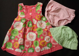 Girl's Size 3-6 M Months 3 Pc Pink Floral Gymboree Dress, Carter's DC, Green Hat - $16.00