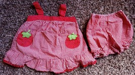 Girl's Sz 18 M Months Two Piece Set Red Tomato Embroidered Dress & Bloomer - $9.00