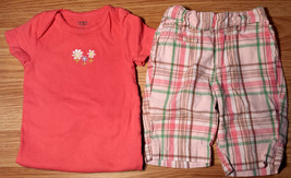Girl's Size 12 M 9-12 Months 2P Pink Floral Carter's Top & Plaid Osh Kos... - $15.00