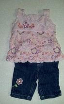 Girl's Size 12 M Months 2 Piece Top & Jeans Outfit Floral, Butterfly Embroidered - $13.00