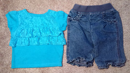 Girl's Size 3 M 0-3 Months Two Piece Blue Laced Garanimals Top & Circo J... - $13.00