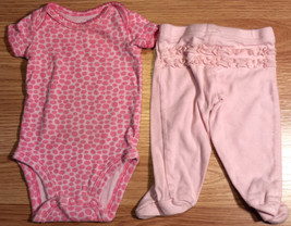 Girl's Size NB Newborn Two Piece Carter's Pink Animal Print Top & Footed... - $12.50