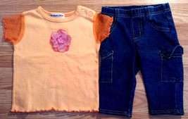 Girl's Size 18-24 M Months Two Pc Orange Floral Top & Blue Childrens Pla... - $17.00