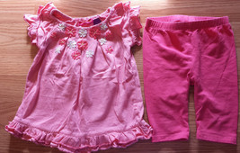 Girl's Size 12 M 9-12 Months Two Piece Greendog Pink Ruffled Floral Top ... - $11.75
