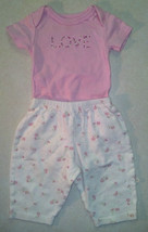 Girl's Sz 6 M Month 2 Piece Outfit Carter's Pink Love Top & Cream Floral... - $11.00