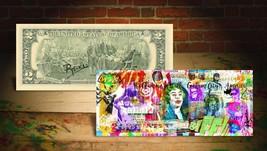 BATMAN GOTHAM CITY Rency / Banksy ART on GENUINE Tender U.S. $2 Bill HAN... - $19.95