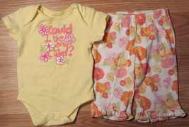 """Girl's Size 0-3 M Months 2 Pc """"Could I Be Any Cuter"""" Glitter Top, Gymboree Pants - $13.00"""