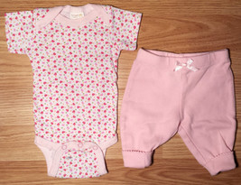 Girl's Size NB Newborn Two Piece White Snugly Baby Heart Top & Pink F.G. Pants - $11.50