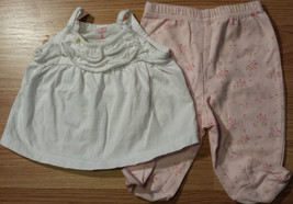 Girl's Sz 3 M Months 2 Pc Carter's Outfit White Ruffle Top, Floral Foote... - $9.00