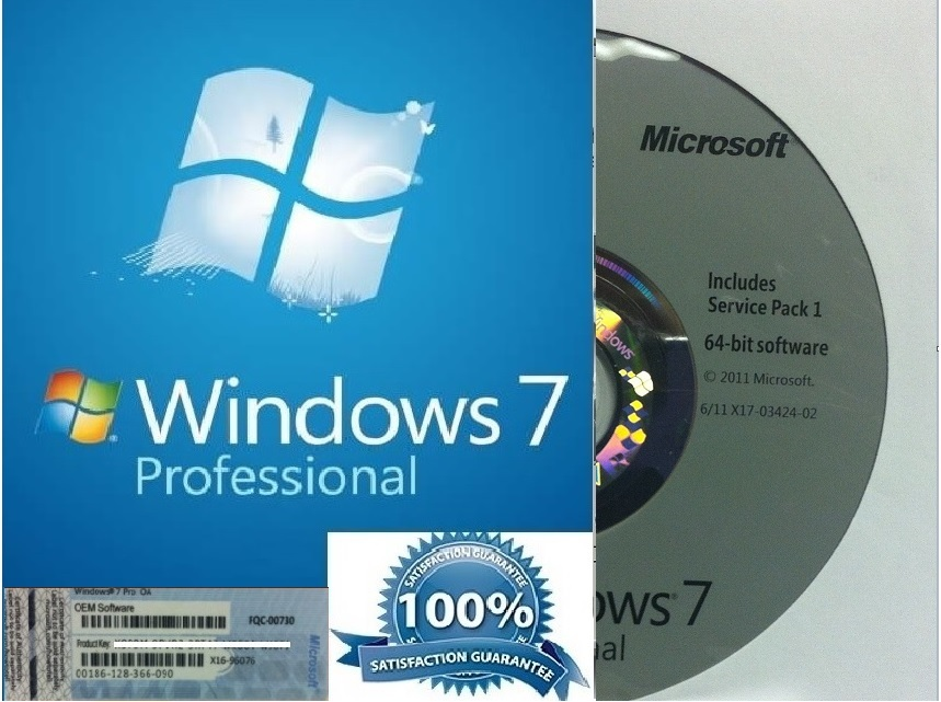 Windows 7 Professional Pro 64 Bit Full Version With SP1 BRAND NEW + Product Key