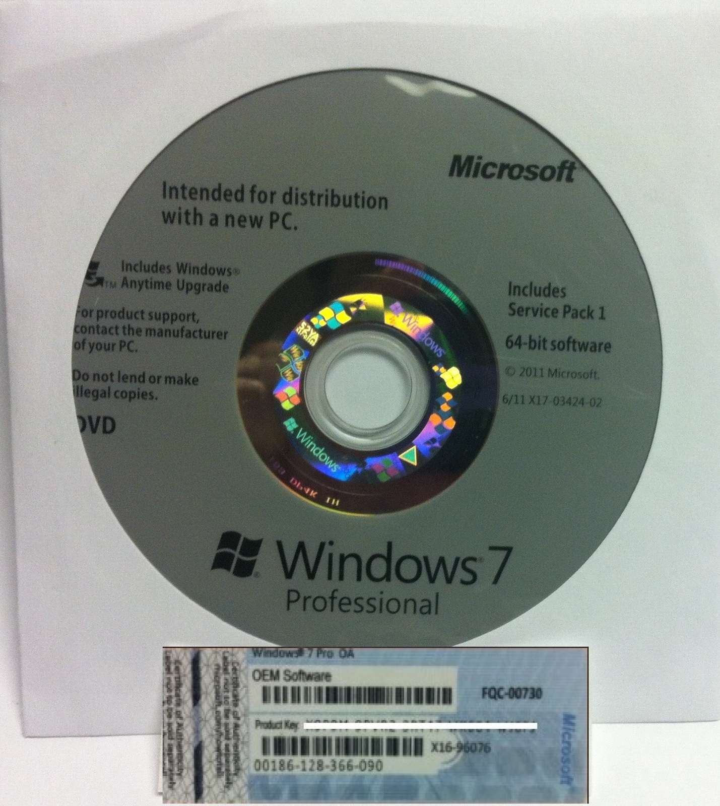 Windows 7 Professional Pro 64 Bit Full Version With SP1 BRAND NEW + Product Key image 2