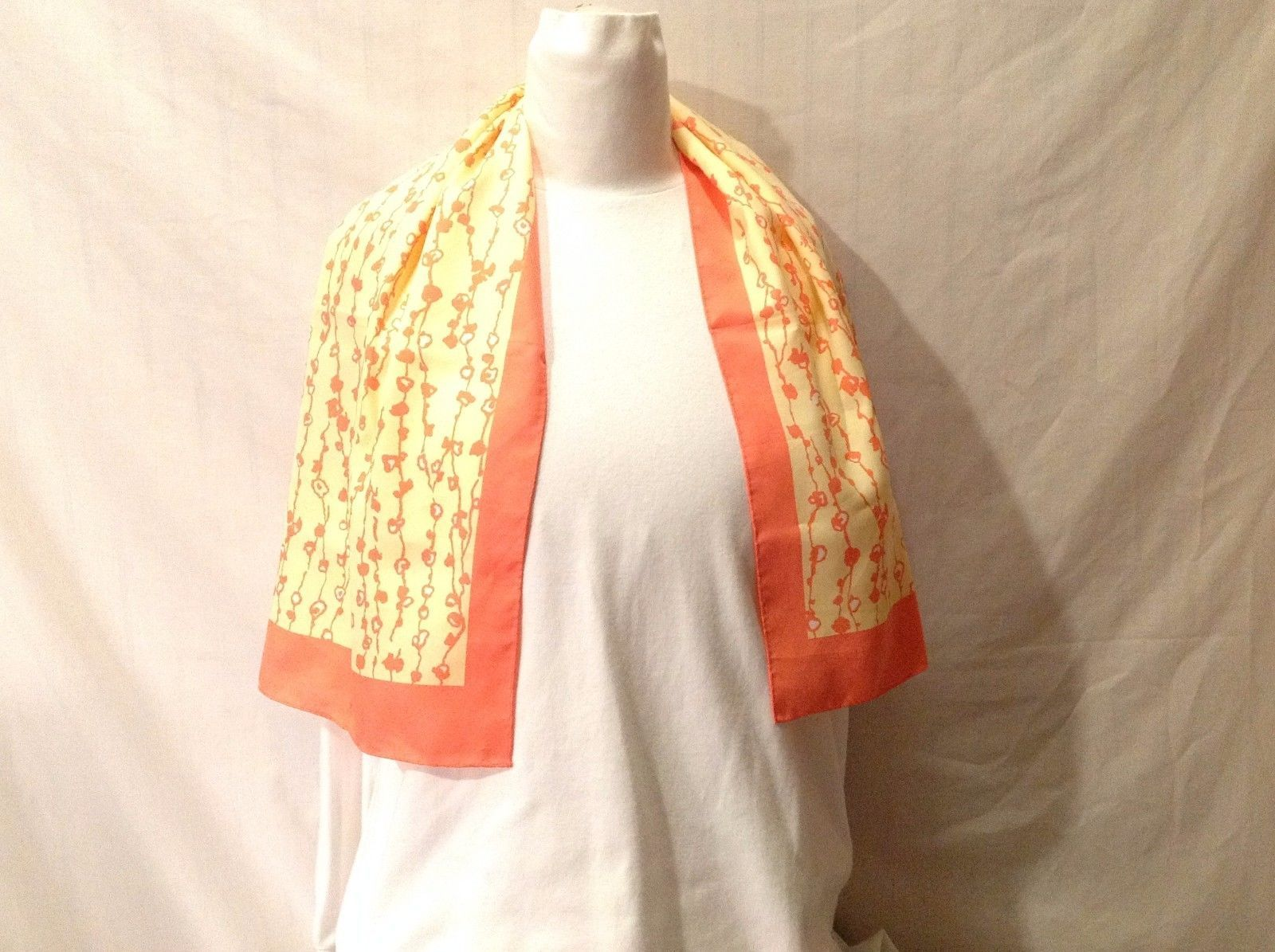 Preowned Vintage Silky Scarf Head Dress Orange Yellow Design Worn Many Ways