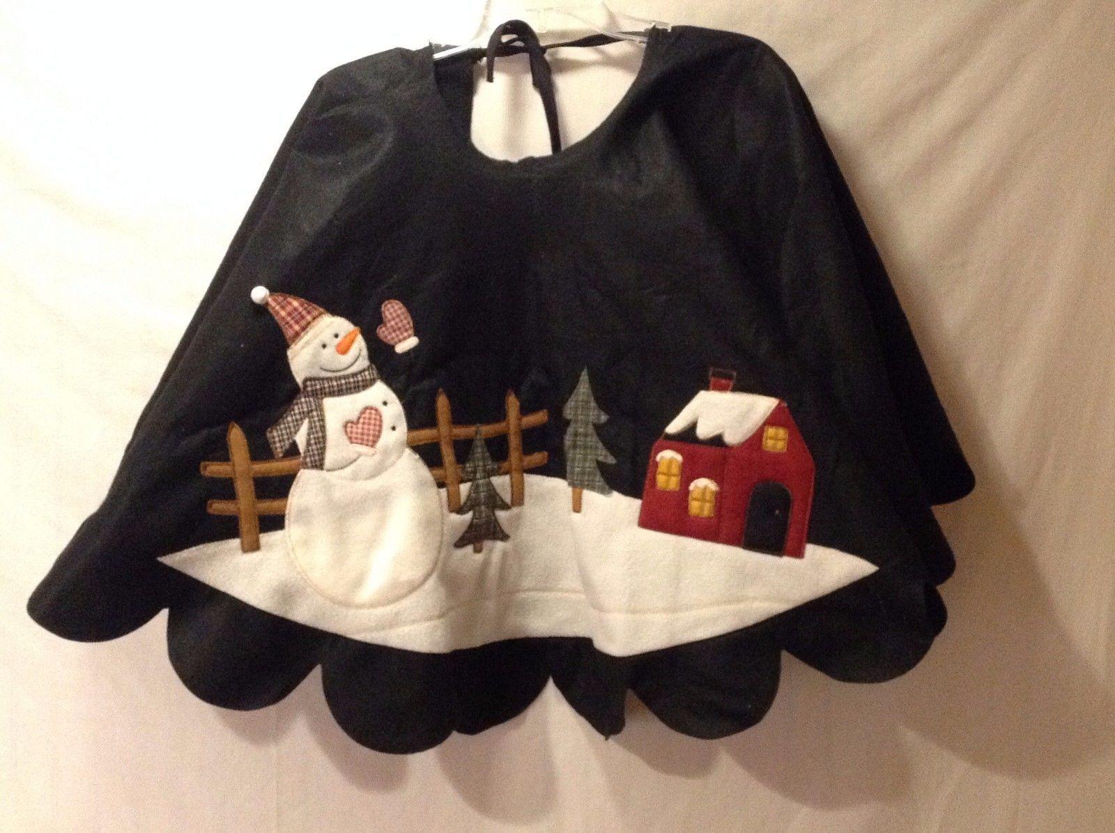 Beautiful Felt Christmas Tree Skirt Snowman Winter Setting Scalloped Edges