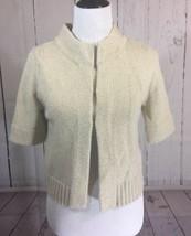 Loft Ann Taylor Size Medium Gold Metallic Crop Cardigan Sweater 3/4 Sleeves - $18.29