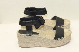 New Vince Abby Espadrille Leather Black Sandal Wedge Women Shoes 11 Strap - $168.29