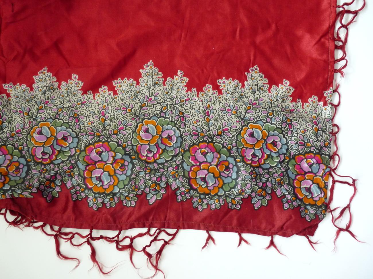 Vintage Bohemian silk satin shawl scarf wrap skirt cranbery red floral