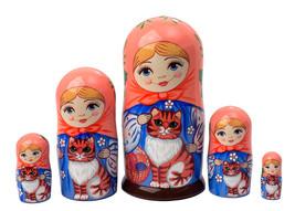 """Maiden w/ Orange Tabby Cat Nesting Doll - 5"""" w/ 5 Pieces - $40.00"""