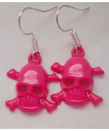 Dark Pink Skull Dangle Earrings New Lightweight... - $7.50