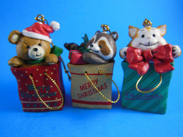 Bag Buddies Set Cat, Raccoon, Bear  Resin sold by Christmas Around the W... - $8.41