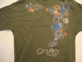 Carved Records American Record Label Music Green Soft Cotton T Shirt Size L - $17.46