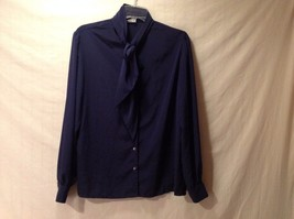 Preowned Excellent Condition Bleyle Navy Blue Silky Long Sleeve Blouse Shirt