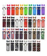 35mm Wide Adjustable Braces Match Color Suspender $ Bow tie Set Elastic - $9.89+