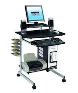 Mobile Compact Computer Cart Printer Stand CD DVD Storage Desk Tray Home... - £59.31 GBP