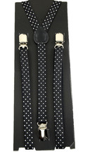 "Unisex Clip-on Braces Elastic ""White Polka Dot"" Slim Y Back Suspender - $5.93"
