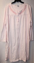 New Womens Plus Size 3X White & Pink Embroidered Knit Duster House Bath Robe - $19.34