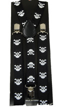 "Unisex Clip-on Braces Elastic ""White Skull 2"" Suspender Y-Back Suspender - $6.92"