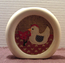 Vintage BRINN'S Ceramic Burlap Applique CHICKEN Vase // Country Decor  - $9.50