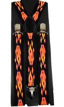 "Unisex Clip-on Braces Elastic ""Fire"" Y-back Suspender - $6.92"