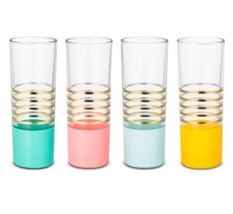 Oh Joy! For Target 8 Fl Oz Tumbler Glasses 4Pc Set Gold Pastel New Drinks - $35.99