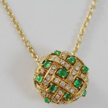 18k YELLOW GOLD NECKLACE WITH CABOCHON GREEN EMERALD AND DIAMONDS BUTTON PENDANT image 2