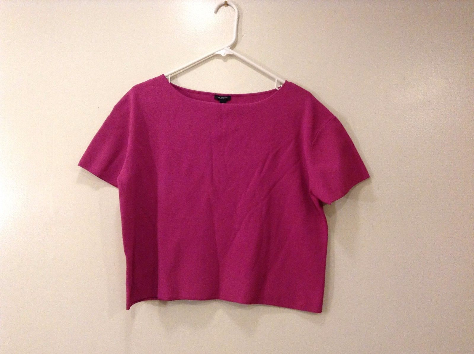 Preowned Excellent Condition Ann Taylor Dark Pink T-Shirt Blouse Size S Boatneck