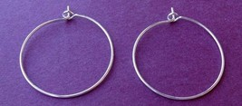 "50 SILVER Plated HOOPS ~ Ear Wires or WINE Glass RINGS for CHARMS 1"" ~ 25mm - $5.70"