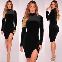 Black High Neck Velvet Plain Bodycon Dress - $25.95