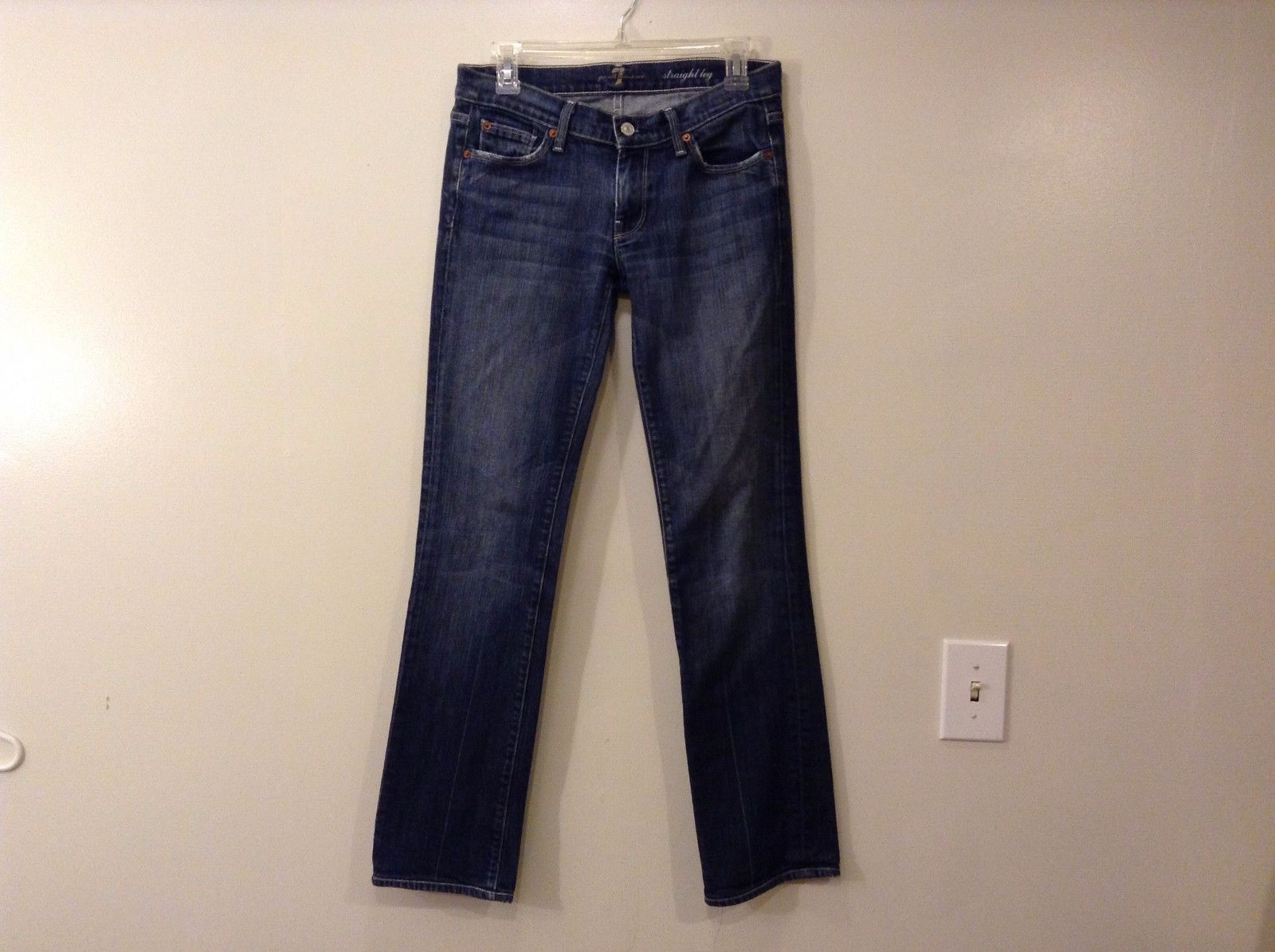 7 For All Mankind Blue Dark Wash Straight Leg Jeans Size 28 Low Rise Excellent