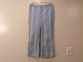 Excellent Condition Casual Corner White Blue Stripe Capri Cropped Pants Size 2