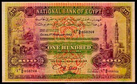 """EGYPT P17d """"MOSQUE"""" 100 POUNDS 1943 CAIRO RAW VERY FINE! - $1,495.00"""