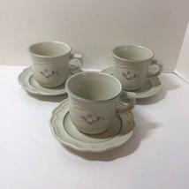 "3 Coffee Tea Cups Mugs & Saucers Heirloom Pfaltzgraff Grey White Flowers 5.75"" - $14.50"