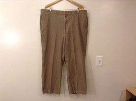 Mens Haggar Flat Front Brown Khaki Corduroy Pants Size 44 Made in USA