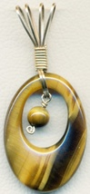 Tiger-eye Gold Wire Wrap Carved Pendant 11 - $8.10