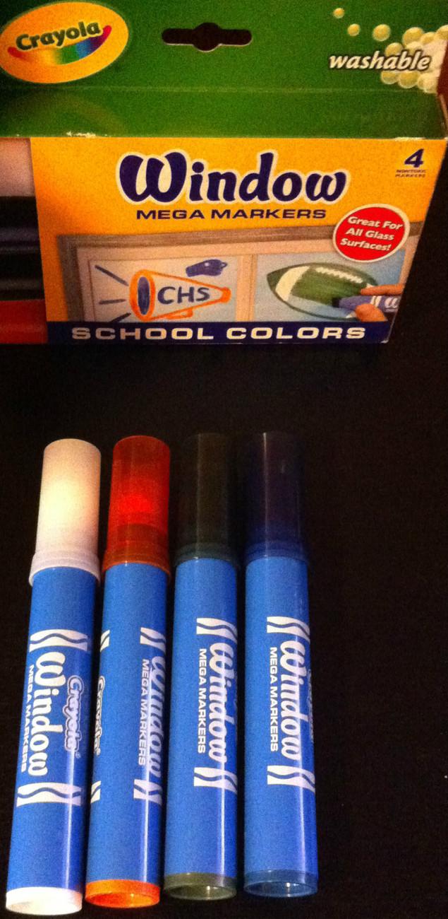 4 Crayola Window Mega Markers School Colors Green Orange ...