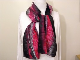 Vintage Beautiful Silk Hand Dyed Scarf Black Dark Gray Pink Silver 100% Silk